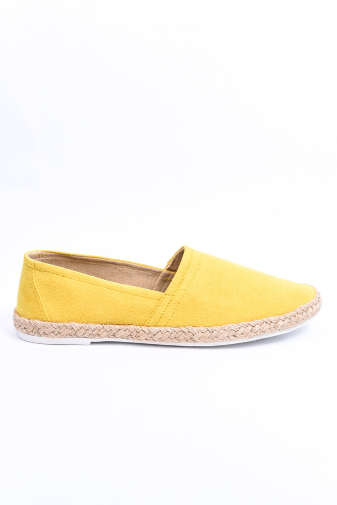 Chasing The Sun Yellow Slip On Espadrille Shoes - SHO1964YE
