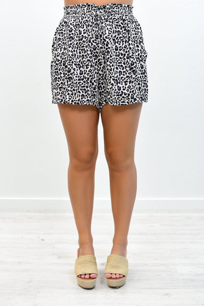 Cool For The Summer Gray Leopard Shorts - I1209GR