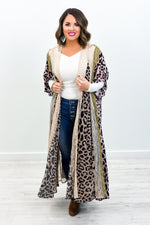 Picnic Under The Willow Tree Mocha/Multi Color Leopard/Floral/Lace Kimono - O2992MO