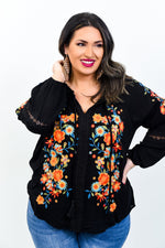 All I Really Want Black/Multi Color Floral/Embroidered Top - B10755BK
