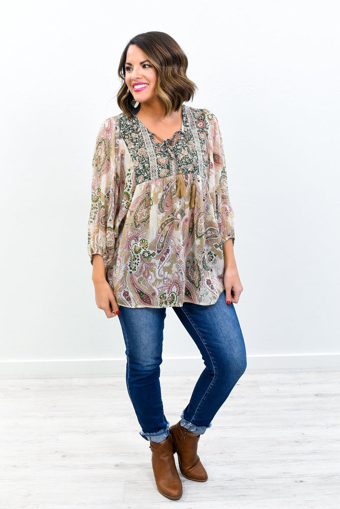 Life Is Short Make Every Outfit Count Light Latte/Green Multi Pattern V Neck Top - B10769LT