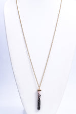 Pink/Black Marble Pendant Necklace - NEK3680PK