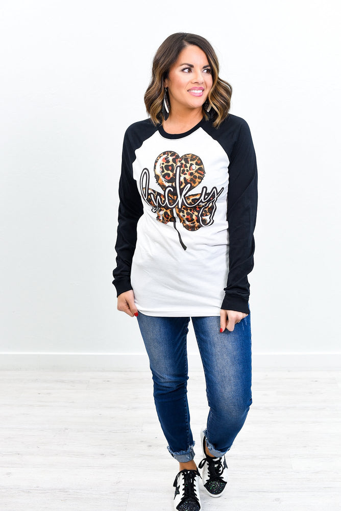 Lucky White/Black Leopard/Clover Printed Long Sleeve Graphic Tee - A1132WH