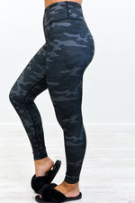 Black/Gray Camouflage Compression Wide Band Leggings - LEG2869BK