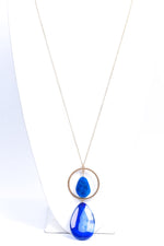 Blue Stone Slab/Ring/Chain Necklace - NEK3724BL