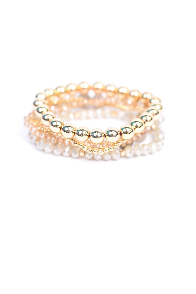 Gold/Ivory Beaded Stretch Stackable Bracelet - BRC2956GO