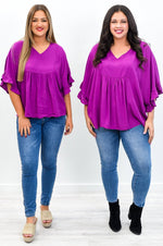 Luck Is What Happens When Preparation Meets Opportunity Magenta V Neck Top - B10799MG