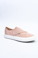 Footprints In The Sand Blush Distressed Slip On Sneakers - SHO1973BS