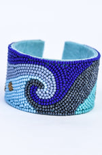 Royal Blue/Gray/Gold/Light Blue Seed Bead Wave Cuff Bracelet - BRC2961RB