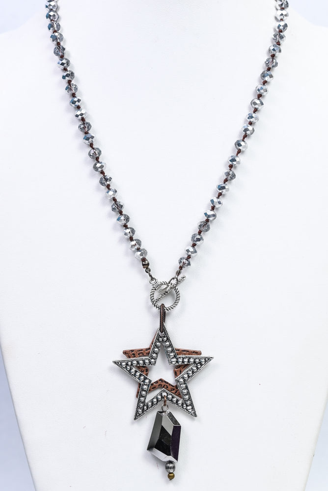 Silver Crystal Beaded/Layered Star Pendant Necklace - NEK3737SI