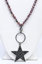 Dusty Mauve Beaded/Open Circle/Black Crystal Star Pendant Necklace - NEK3735DMV