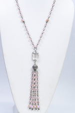 Pink Beaded Crystal/Ornate Bling/Rectangle Crystal Pendant Necklace - NEK3732PK