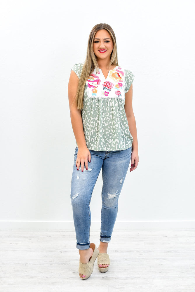 A Little Good News Sage/Multi Color Leopard/Embroidered Top - B10828SG