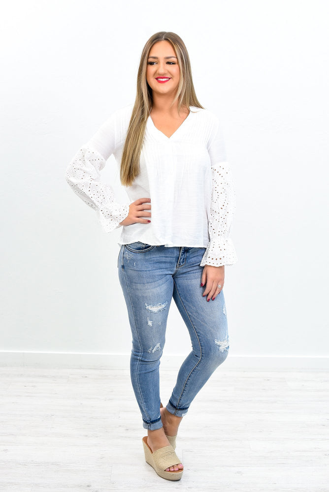 Dressed For Success White Embroidered High-Low Top - B10827WH