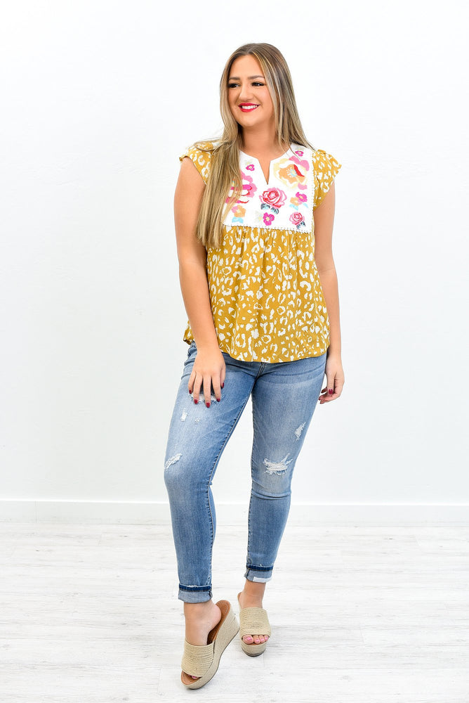 A Little Good News Marigold Leopard/Embroidered Top - B10829MG
