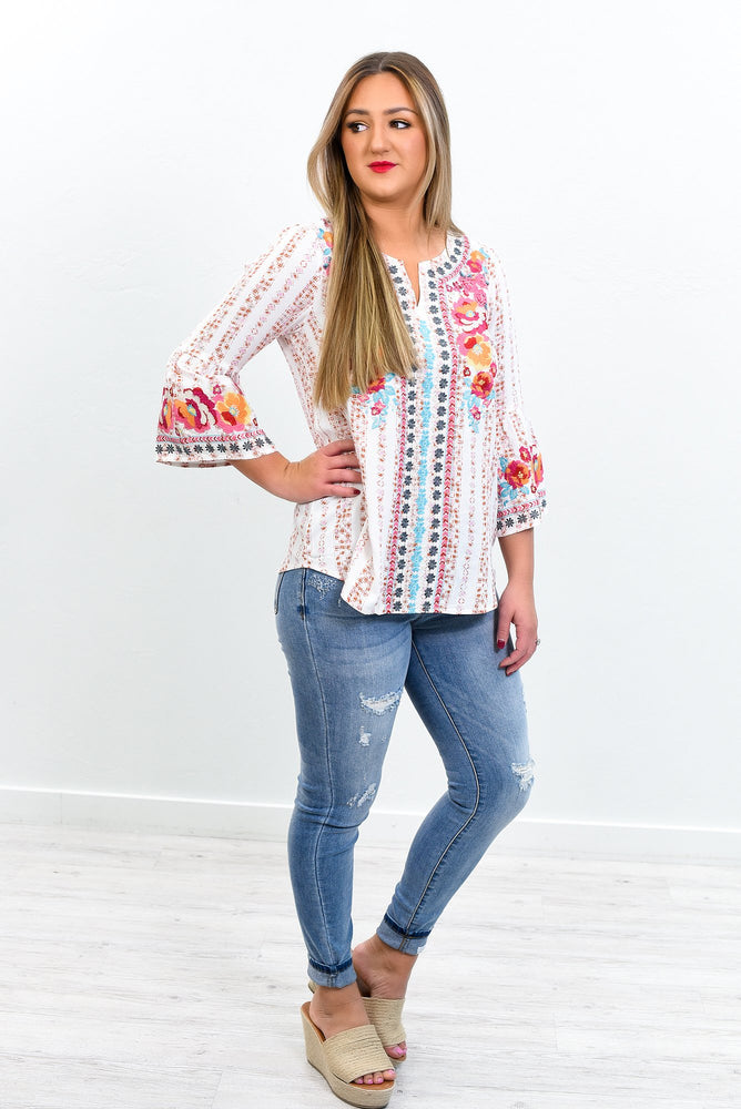 Whole Lotta Love Ivory/Multi Color Embroidered/Floral V Neck Top - B10815IV