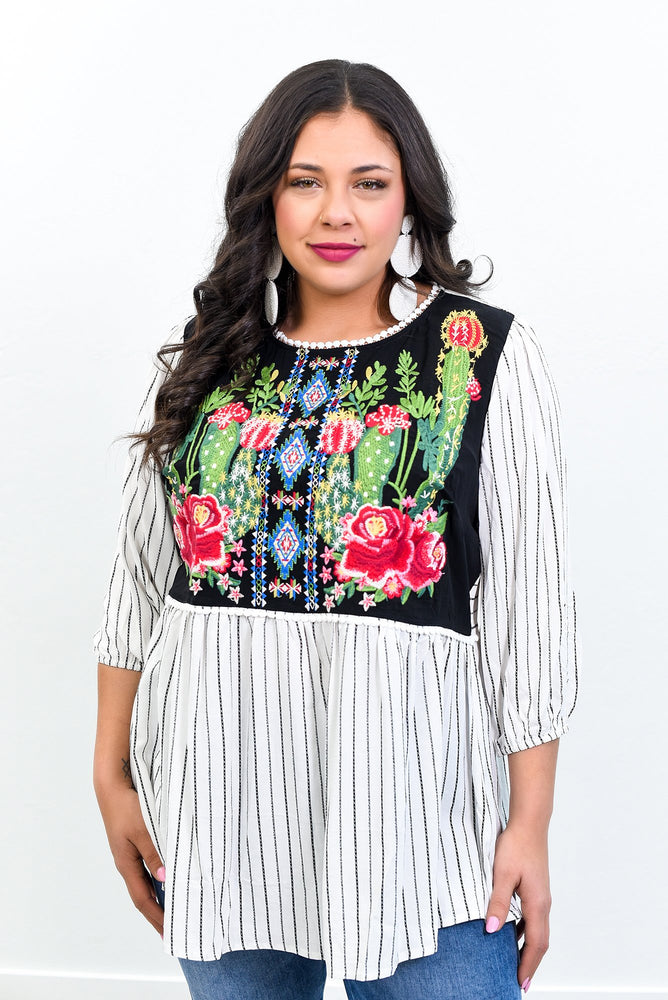 Can't Help Falling In Love Ivory/Multi Color Embroidered Top - B10816IV