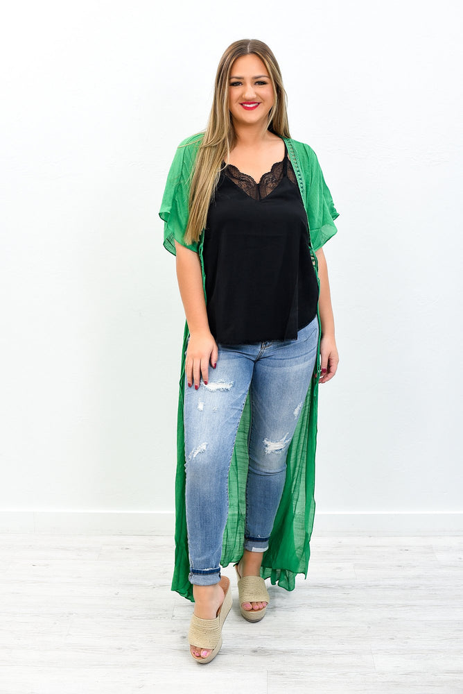 How Sweet It Is Jade Embroidered Duster - O3059JD