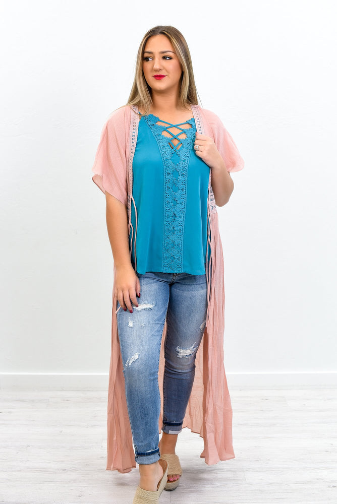 How Sweet It Is Blush Embroidered Duster - O3060BS