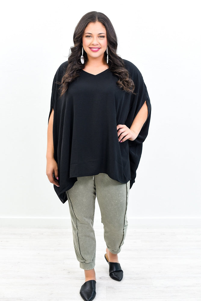 A Brighter Day Black Solid Top -  B10826BK