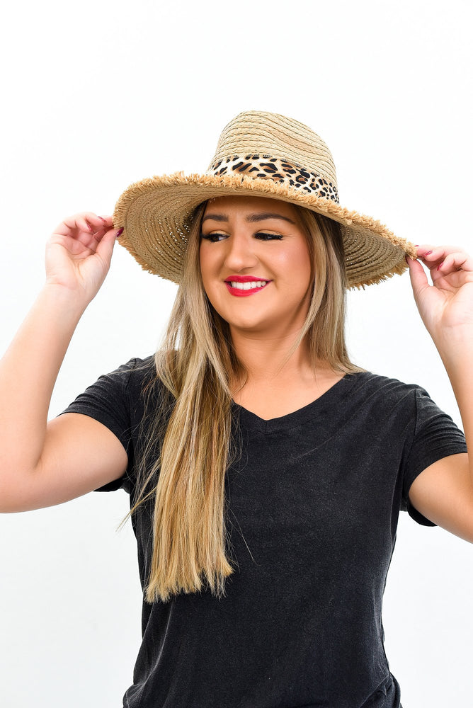 Tan With Leopard Band Straw Hat - HAT1206TN