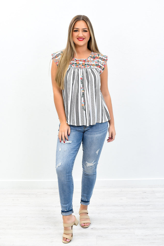 Paradise City Ivory/Multi Color Embroidered/Striped Top - B10834IV
