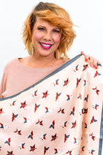 Pink/Charcoal Gray Star Printed Satin Scarf - SCA1065PK