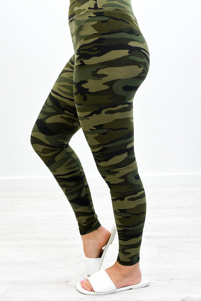 Army Green Wide Band Leggings (One Size 4-12) - LEG2870AG