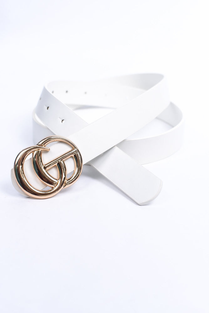 White/Gold Regular Sized Belt - BLT1155WH