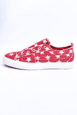 Expressive Looks Red Star Printed Slip On Sneakers - SHO1977RD