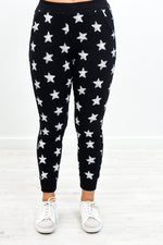 A Million Stars Black/Ivory Star Joggers - PNT1176BK