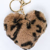 Light Brown Leopard Fur Heart Keychain - KEY1110LB