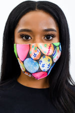 Black/Multi Color Easter Egg Printed Face Mask - FM126BK