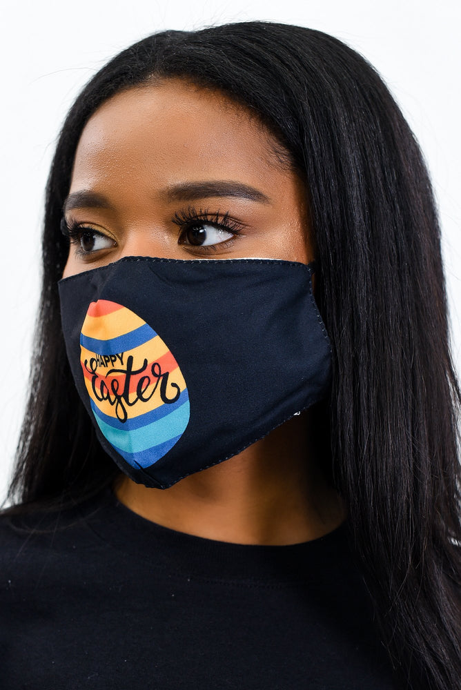 'Happy Easter' Black/Multi Color Face Mask - FM127BK
