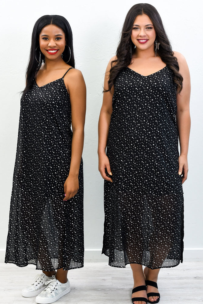 Shoot For The Stars Black/Silver Star Printed Dress - D3706BK