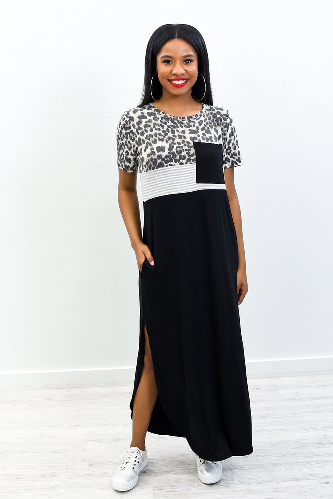 You're Still The One Black/Gray Leopard/Striped Maxi Dress - D3704BK
