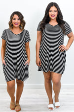 The Party Continues Black/Ivory Striped V Neck Dress - D3709BK
