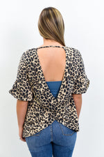 A Woman In Love Brown Leopard Open Back Top - T153BK