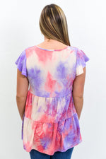 True Love Awaits Purple/Multi Color Tie Dye Babydoll Top - T148PU