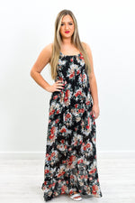 Butterfly Fly Away Black/Multi Colored Floral Dress - D3714BK