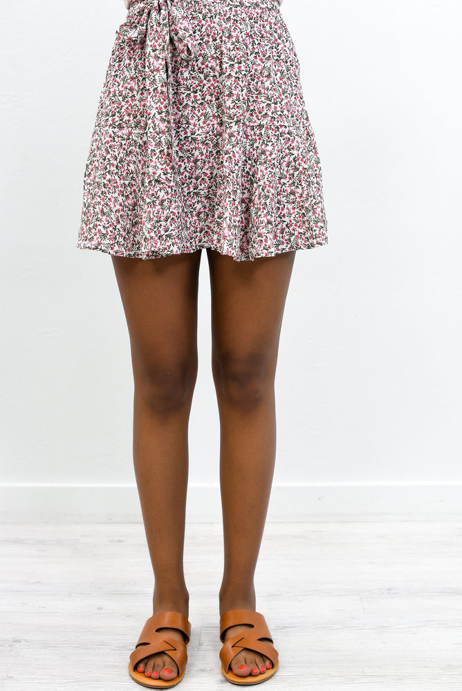 Say Pretty Please Ivory/Multi Color Floral Skort - E1062IV