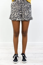 She's A Wild Thang Taupe Leopard Shorts - I1261TA