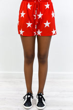 The Stars Are Shining Red/Ivory Star Printed Shorts - I1258RD