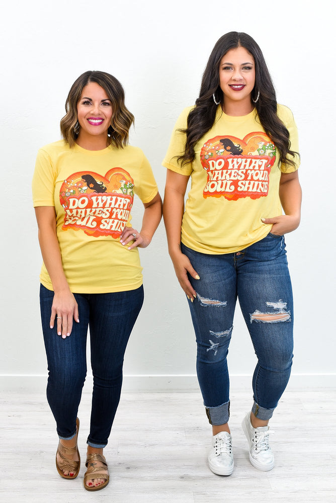 Do What Make Your Soul Shine Heather Yellow Gold Graphic Tee - A1234HYE
