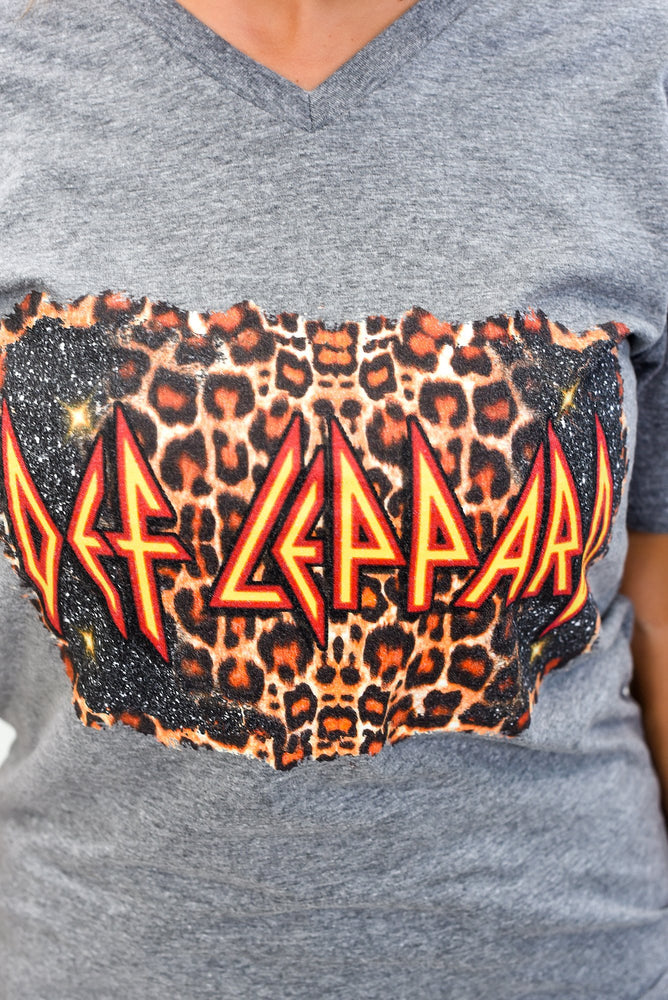 Def Leppard Premium Heather Gray V Neck Graphic Tee - A1242PHG