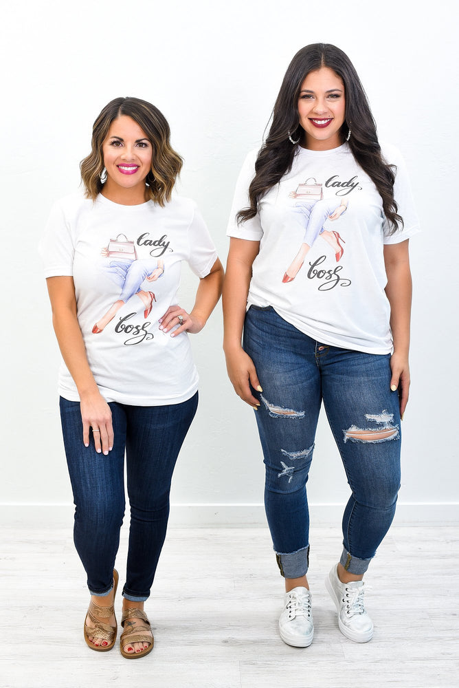 Lady Boss White Graphic Tee - A1240WH
