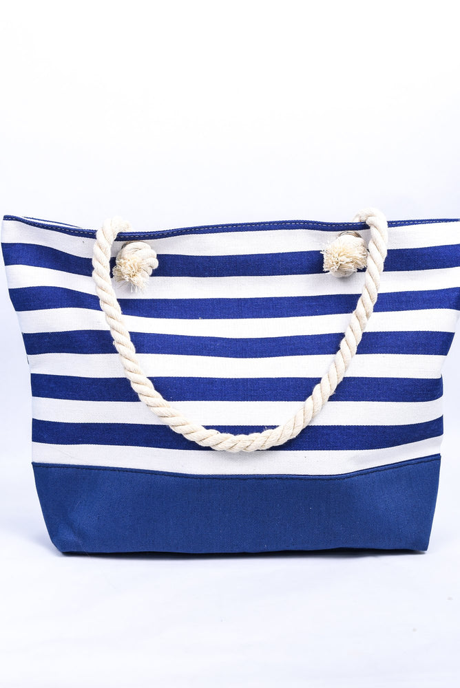 It's A Diva Thing Navy/White Striped Tote Bag - BAG1509NV