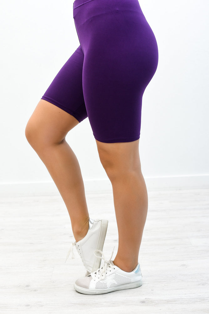 Purple Solid Biker Shorts - I1267