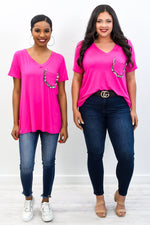 Suits You Well Fuchsia Leopard V Neck Top - T287FU