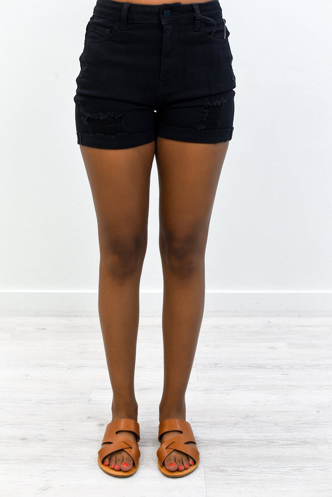 Denim Spirit Black Denim Distressed Shorts - I1270BK